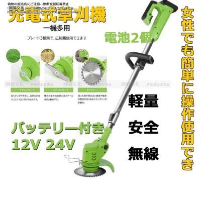 草刈機 充電式 コードレス 12V 24V 女性 男性 強力 軽量 安全 無線 伸縮角度調整 多機能 家庭用 庭 雑草 替刃付き 充電器 バッテリー 2個付き