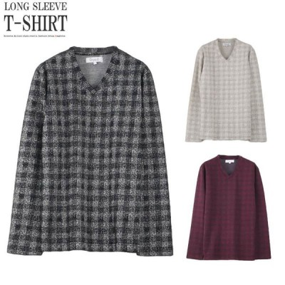 長袖Tシャツ メンズ チェック ロンT チェックシャツ トップス かすれ デザインTシャツ おしゃれ I020904-05