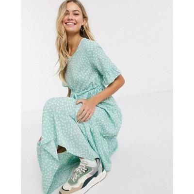 キューイーディーロンドン レディース ワンピース トップス QED London drawstring waist midi dress in mint polka dot