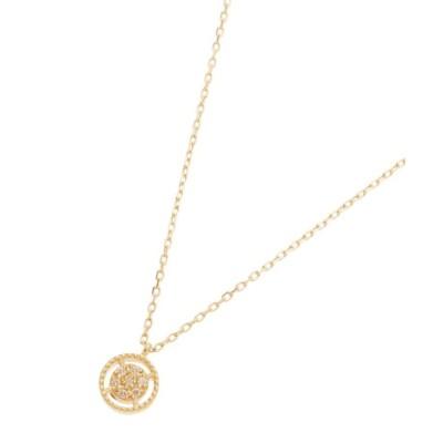 【ココシュニック】 ダイヤモンド 透かしフチミル ラウンド ネックレス レディース イエロー ゴールド 40 COCOSHNIK