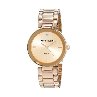 Anne Klein Women Liberty Quartz Watch with Gold Dial Analogue Display and Rose Gold Stainless Steel Bracelet AK/N1362RGRG 並行輸入品