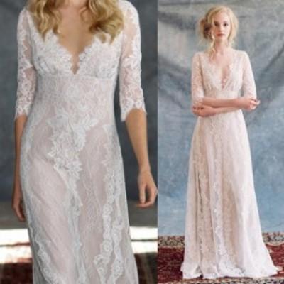 ウェディングドレス 二次会 花嫁ドレス 結婚式 ドレス パーティードレス ストレート Aライン ヌーディー おしゃれ 個性的 可愛い ナチュ