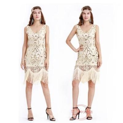 中世紀欧米風セクシーフリンジ付きスパンコール付きワンピースハロウィンレディースコスプレ衣装パーテイー衣装イベント衣装