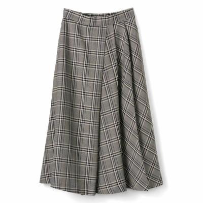 タックフレアーでチェックが美しく揺れ動く大人の着映えスカート〈ブラウン〉 IEDIT[イディット] フェリシモ FELISSIMO