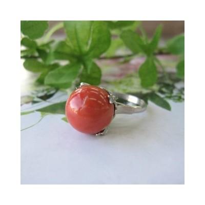 桃珊瑚のリング・指輪/(13ミリ)/SILVER/14号/『宝石サンゴ』