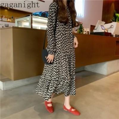 レディースファッション Gaganightポルカドット女性カジュアルルーズマキシドレス長袖Oネックプリーツフリル2020春の女の子