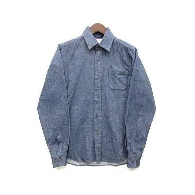 【中古】グランドグローバル GRAND GLOBAL ネルシャツ 長袖 インディゴ 38 日本製 美品 メンズ 【ベクトル 古着】