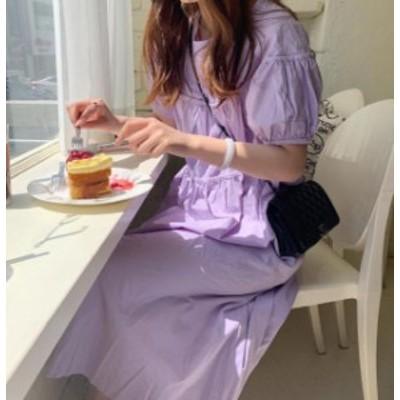 韓国 ファッション レディース ワンピース ロング パフスリーブ リボン 背中あき セクシー ゆったり 半袖 フェミニン 大人可愛い