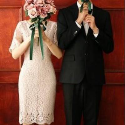 ワンピース フレア袖 総レース 半袖タイト 花柄レース トレンド フェミニン 透け感 エレガント 結婚式二次会 お呼ばれ 2018年新作
