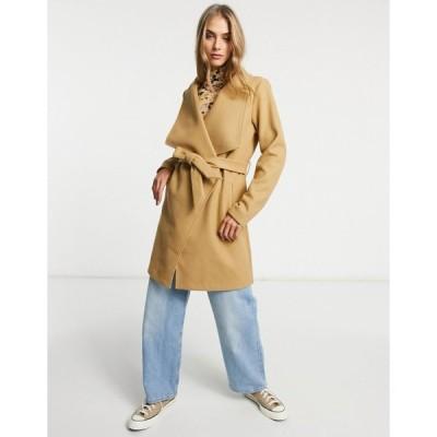 ヴィラ コート レディース Vila wrap coat with tie wasit in brown エイソス ASOS