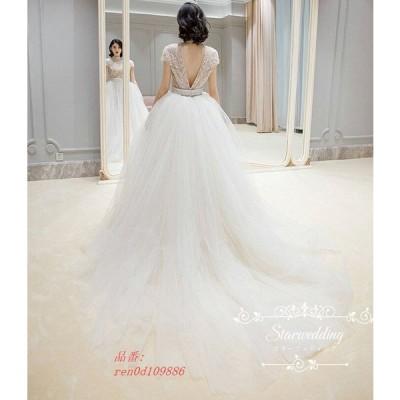 ウェデイングドレス 二次会 背中開き 披露宴 エンパイア シースルーレース 前撮り 結婚式 ブライダル 挙式 ウエディングドレス Aラインドレス チュール