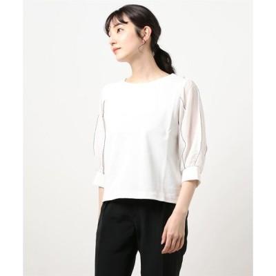 tシャツ Tシャツ 袖刺繍異素材7分袖プルオーバーカットソー