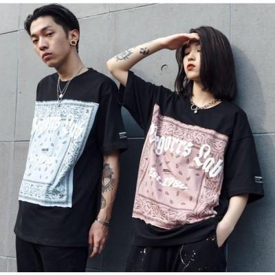 ヒップホップTシャツ カップル メンズ  レディース ゆったり ビッグサイズ 半袖 ペアTシャツ 2021春夏新作街頭hiphop