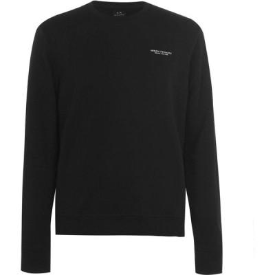 アルマーニ Armani Exchange メンズ スウェット・トレーナー トップス Armani French Terry Crew Sweater Black