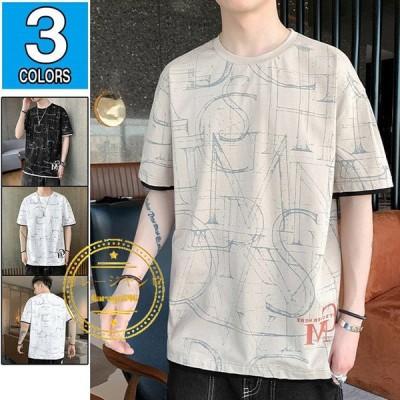 半袖tシャツ メンズ プリント サマーtシャツ クルーネック カットソー おしゃれ クルーネック 夏着 夏物 トップス