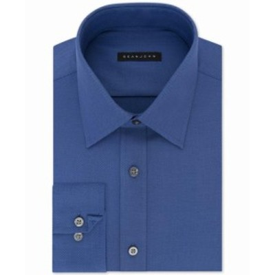 Sean  ファッション ドレス Sean John NEW Blue Mens Size 18 Textured Solid Tailored Fit Dress Shirt