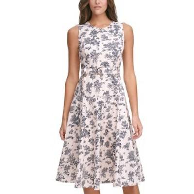 トミー ヒルフィガー レディース ワンピース トップス Belted Floral-Print Fit & Flare Dress Powder/ Sky Captain
