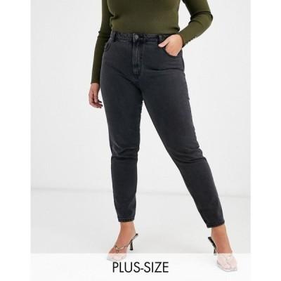 ヴェロモーダ Vero Moda Curve レディース ジーンズ・デニム ボトムス・パンツ mom jeans with high waist in washed black ブラック