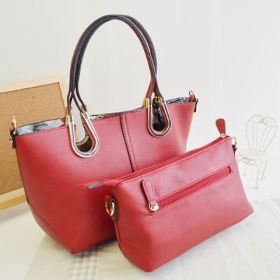 ハンドバッグ ショルダーバッグ 2wayバッグ 飾り金具付(ビンドリヘンド) ボタニカル柄  ポシェット付 2点セット レッド RED No.99305 Handbag