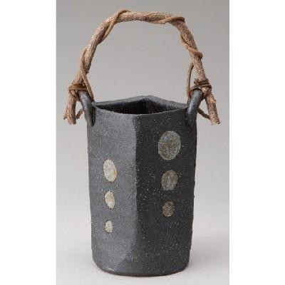花瓶 陶器 信楽焼 花器 花入 黒釉丸紋つる付花入 彩り屋