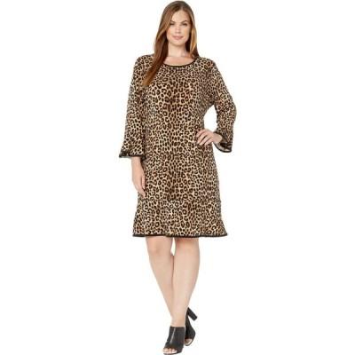マイケル コース MICHAEL Michael Kors レディース ワンピース 大きいサイズ ワンピース・ドレス Plus Size Cheetah Flounce Dress Dark Camel
