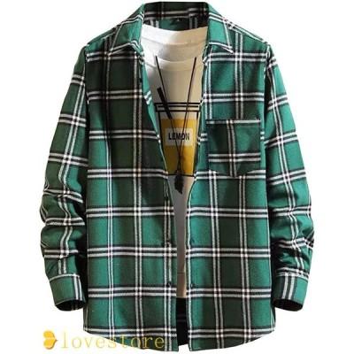 カジュアルシャツ メンズ チェックシャツ ネルシャツ 長袖 胸ポケット ゆったり かっこいい 春秋 前開き 開襟 気持ちいい 通気性 人気