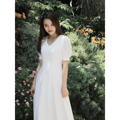 パーティードレス  ホワイト ワンピース 半袖 結婚式 二次会 ドレス フォーマルドレス  お呼ばれ  ホワイト 大人 上品 女性 20代30代40代