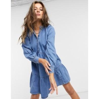 ニュールック レディース ワンピース トップス New Look denim smock mini dress in blue Mid blue
