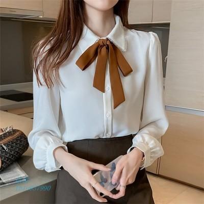 シャツ ブラウス トップス レディース 長袖 襟付きシャツ とろみシャツ 大きいサイズ 白シャツ リボンタイ 白ブラウス