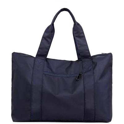 トートバッグ 大容量 防水 ナイロン 大きめ 旅行鞄 キャリーオンバッグ 肩掛け 手提げ(ネイビー, 35L、15.6型ノートPC)