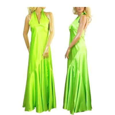 ドレス ワンピース パーティードレス ホルターネック ドレス サテン グリーン