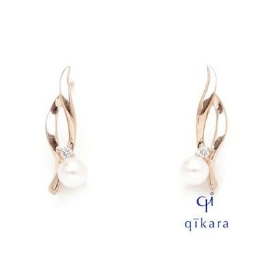 qikara キカラ K18PG パール ピアス ダイヤモンド ジュエリー ピンクゴールド アコヤ真珠 P11-K18