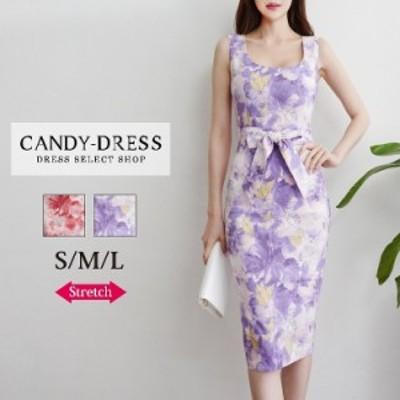 【予約】S/M/L 送料無料 Luxury Dress ストレッチ×フラワープリントウエストリボンノースリーブタイトミディドレス HY200601 韓国 ドレ