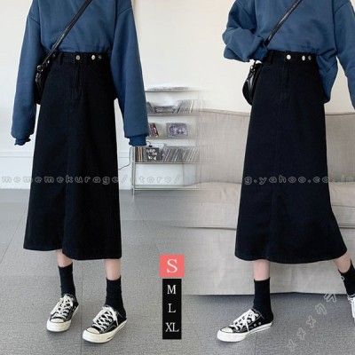 スカート デニム 黒スカート レディース デニムスカート スリット ハイウエスト ポケット付き ゆったり 着痩せ シンプル Aライン ロングスカート エレガント