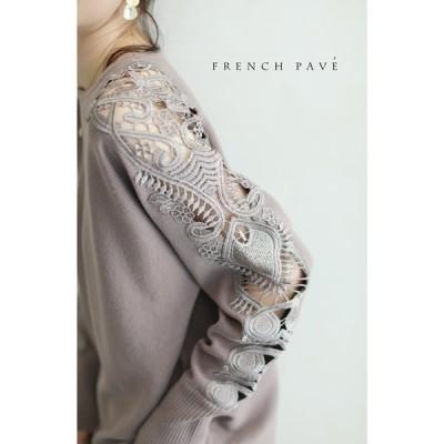 FRENCH PAVE  上品に肌魅せ 艶やかレースのニットトップス モカ SL対応 CAWAII