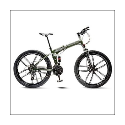 NYKK Road Bikes Green Mountain Bike Bicycle 10 Spoke Wheels Folding 24/26 Inch Dual Disc Brakes (21/24/27/30 Speed) Comfort Bikes (Color : 2