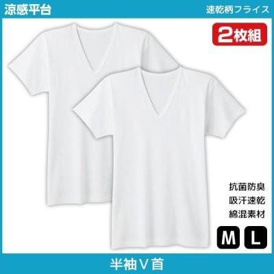 シーズン涼感平台 抗菌防臭 速乾柄フライス VネックTシャツ 半袖V首 2枚組 Mサイズ Lサイズ グンゼ GUNZE RC26152