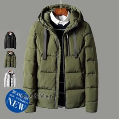 厚手ジャケット メンズ 中綿ジャケット アウター 防寒ジャケット 無地 フード付き 冬物 お兄系