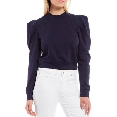 シュガーリップス レディース Tシャツ トップス Crew Neck Long Puff Sleeve Ponte Sweatshirt
