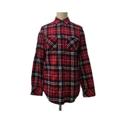【中古】イング INGNI シャツ ネルシャツ チェック スタンダード 長袖 M 赤 黒 レッド ブラック 〇 レディース 【ベクトル 古着】