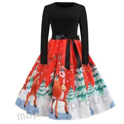 クリスマス衣装Vネックワンピース  レディース ドレス コスプレフランス風 衣装 仮装 大人 長袖ドレス 膝丈 大きい裾ドレス