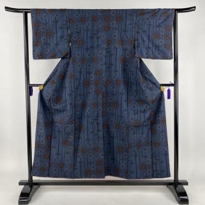 紬 美品 優品 菊 竹縞 藍色 袷 身丈155cm 裄丈63cm S 正絹 【中古】 PK50