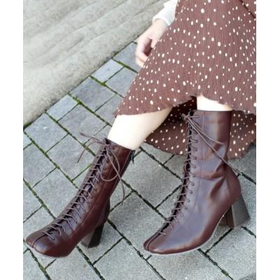VIVIAN COLLECTION / スクエアトゥレースアップミドルブーツ WOMEN シューズ > ブーツ
