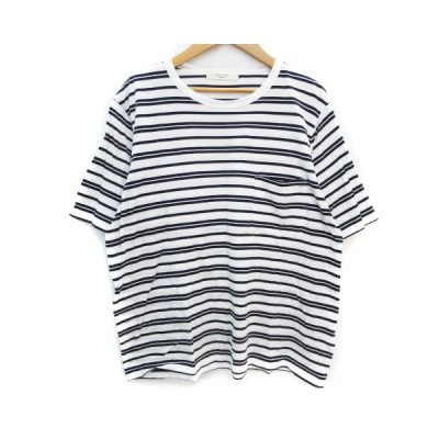 【中古】エディフィス EDIFICE Tシャツ カットソー 半袖 ラウンドネック 透け感 ボーダー柄 S 白 紺 ホワイト ネイビー /FF39 メンズ 【ベクトル 古着】