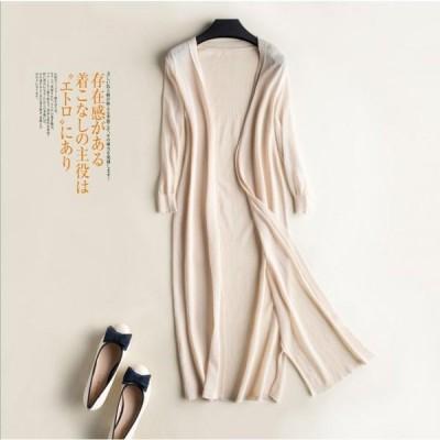 カーディガン レディース 薄手 長袖 ゆったり 無地 ボタン 大きいサイズ 透け感 カーデ トップス 羽織 冷房対策 春 夏