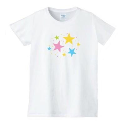 ハート 虹 星 Tシャツ 白 レディース 女性用 jhn93