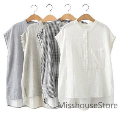 ブラウスシャツ夏綿と麻トップスレディースプルオーバー上品フレンチスリーブ大きいサイズ無地綿麻混コットンtシャツ可愛い