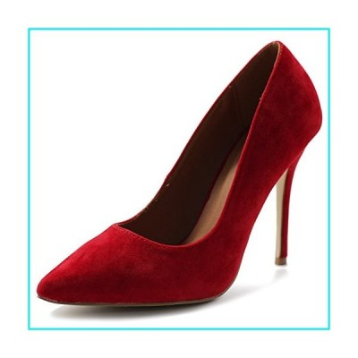 Ollio Women's Faux Suede Point Toe Shoe High Heel Multi Color Pump ZM9004(10 B(M) US, Red)【並行輸入品】