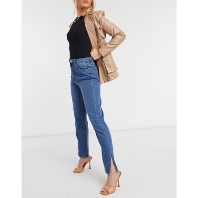ミスガイデッド Missguided レディース ジーンズ・デニム ボトムス・パンツ High Waisted Wrath Straight Leg Jean With Split Hem In Blue ブルー