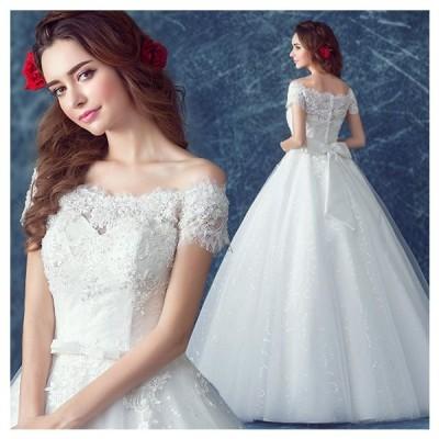 ウエディングドレス 半袖 二次会 ウェディングドレス 結婚式 安い プリンセスライン エンパイア 花嫁 ドレス 披露宴 ロングドレス ブライダル 大きいサイズ
